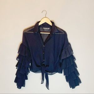 Vintage 90s ruffle sleeve tie front blouse top